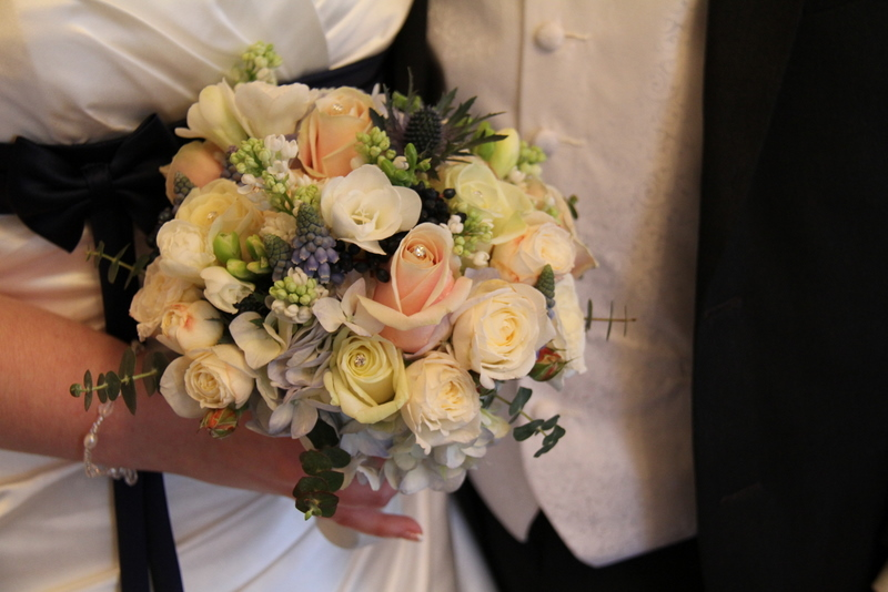 wedding bouquet included her favourite Spring flowers fragrant White