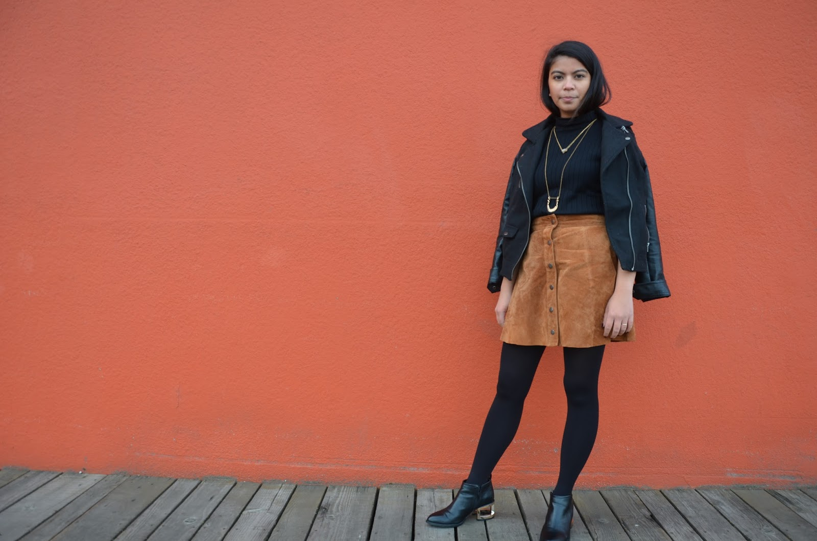 suede button up skirt, a line skirt, black turtleneck, black booties with gold hardware, portland blogger, fashion blogger, style diaries, forever 21, thrifted, affordable fashion, oregon blogger, nested yellow jewelry