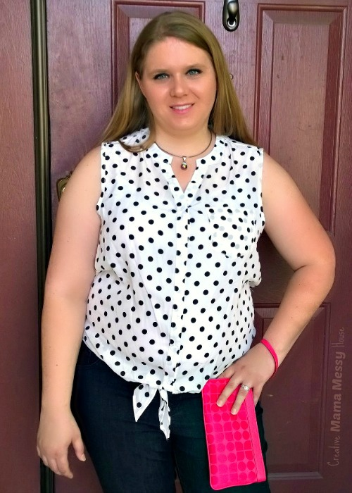 Oh My Polka Dots! Look retro-chic in a black and white tie-waist polka dot top. Brook Dot Print top by Pixley