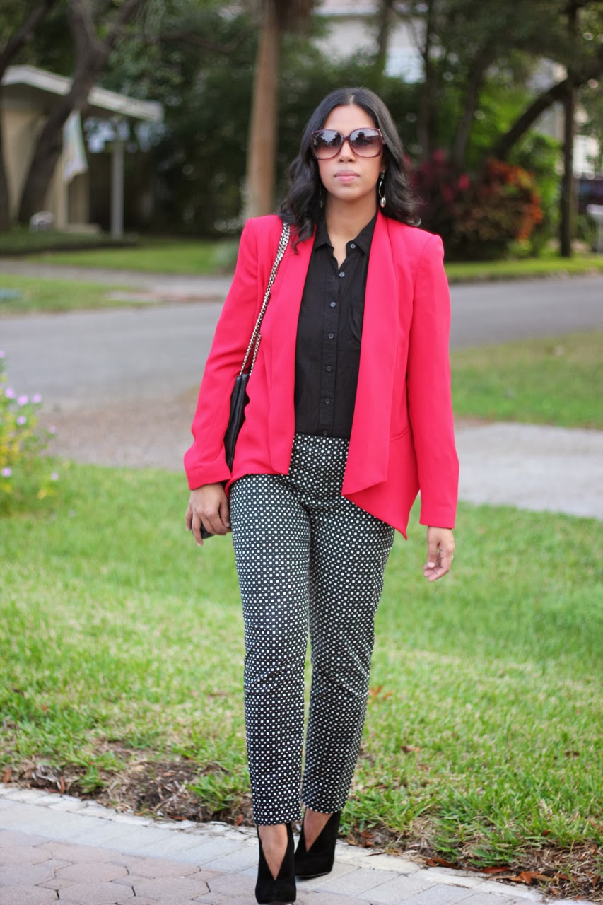red blazer Mango gap slim cropped pants black and white chanel bag sunglasses