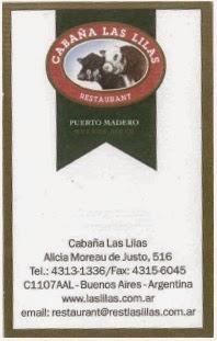 imagen Tarjeta Restaurant Cabaña Las Lilas, Puerto Madero