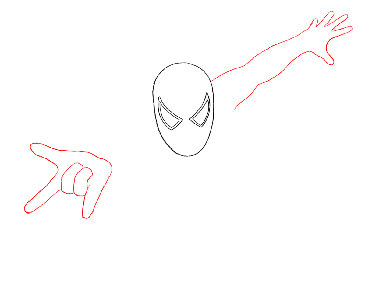 Spiderman Hand Drawing so Draw His Hand With