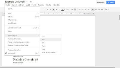 Stáhnout jeden dokument Google jako PDF, Microsoft Office, OpenOffice