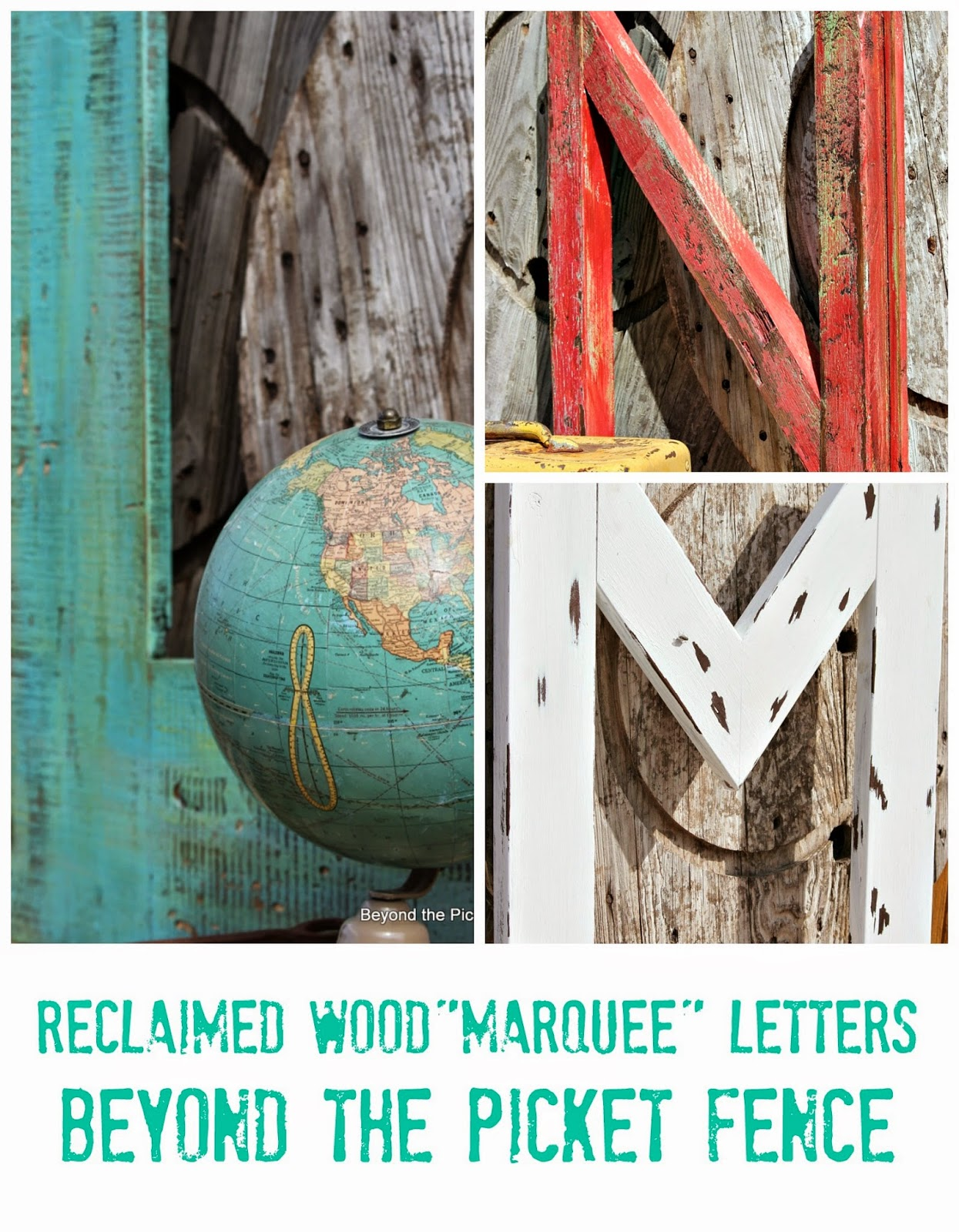 Reclaimed Wood Marquee Letters http://bec4-beyondthepicketfence.blogspot.com/