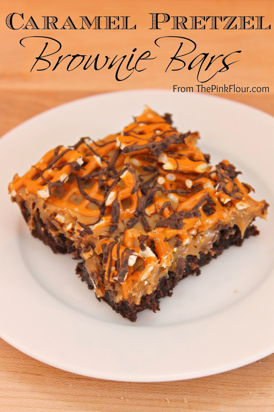 Caramel Pretzel Brownie Bars - gooey caramel and salty pretzels make for the perfect salty & sweet treat