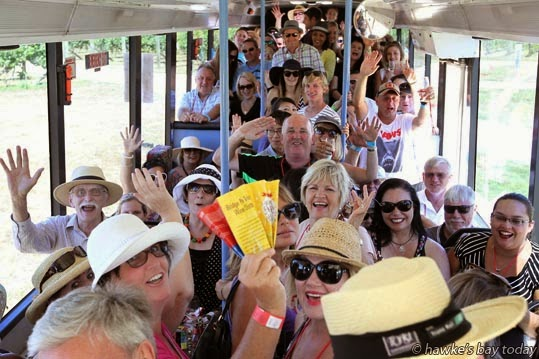 A happy busload of imbibers, leaving Paritua, Maraekakaho Rd, Bridge Pa - eight wineries involved in the first one-day annual Bridge Pa Wine Festival. photograph