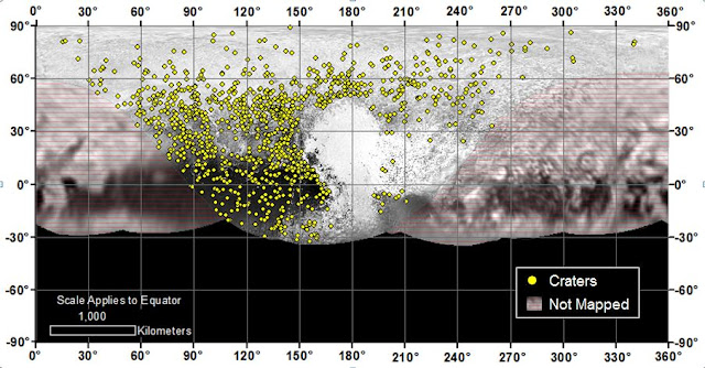 Locations of more than 1,000 craters mapped on Pluto by NASA's New Horizons mission indicate a wide range of surface ages, which likely means that Pluto has been geologically active throughout its history.   Credit: NASA/Johns Hopkins University Applied Physics Laboratory/Southwest Research Institute