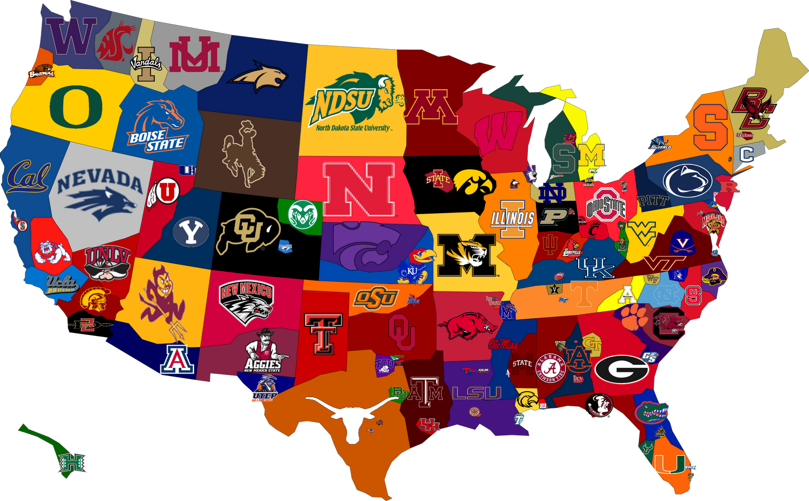 Concepts Amp Contemplations College Football Fan Base Map
