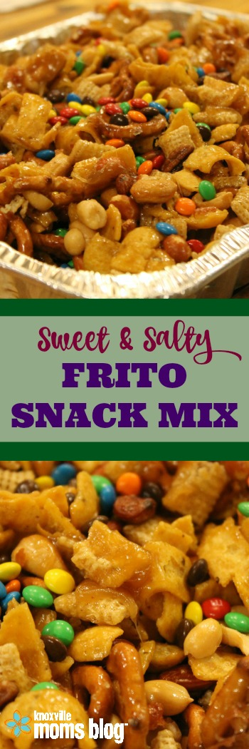Sweet & Salty Frito Snack Mix for Game Day | Cheer on your favorite team with a batch of this addictive snack! #gameday #superbowl #snack #fritos #recipe