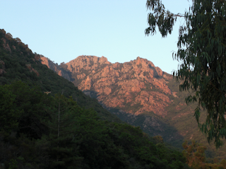 Corsican Mountains reddened by Sunset