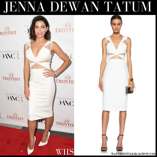 Jenna Dewan Tatum in white cutout Cushnie et ochs power dress and white pumps red carpet august 1 what she wore