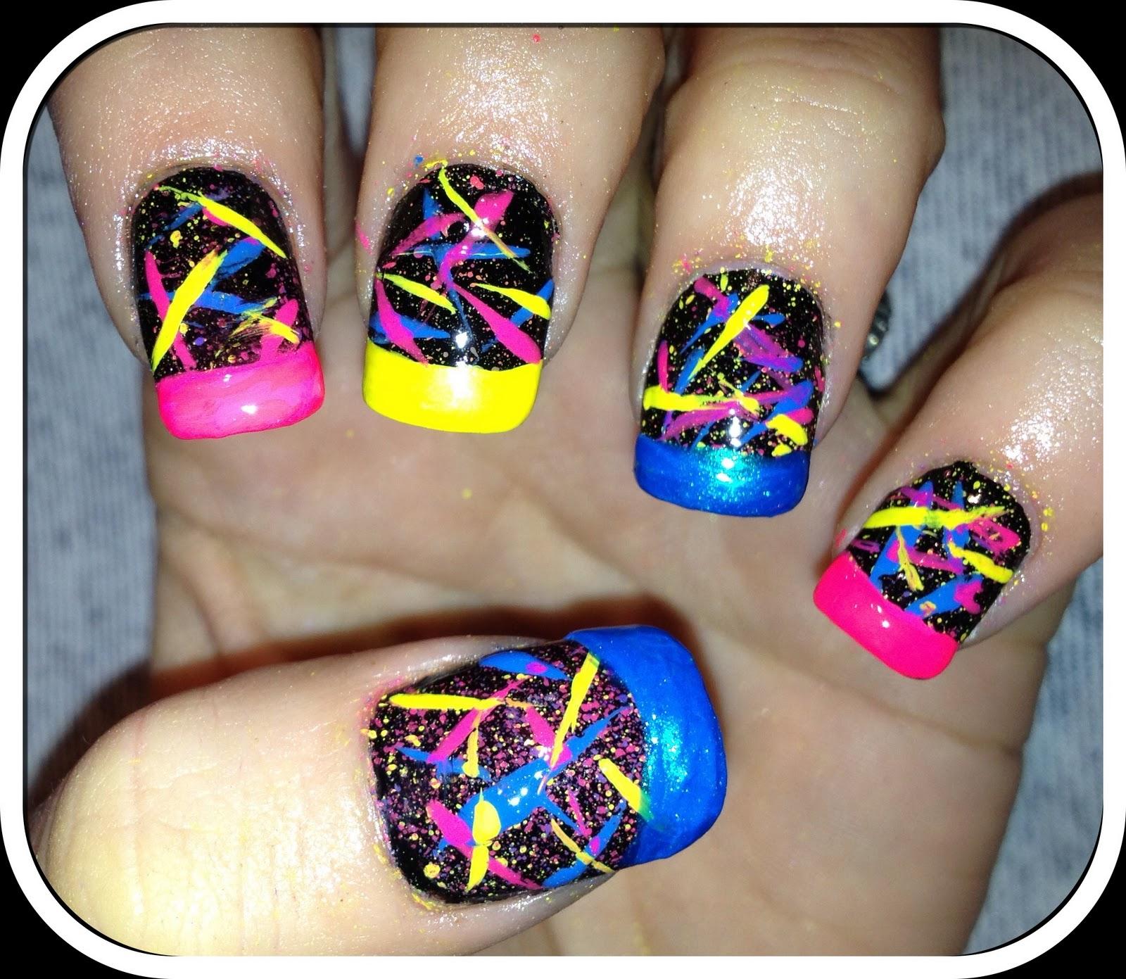 Neon Splatter Paint Nails Neon Splatter Paint Nails