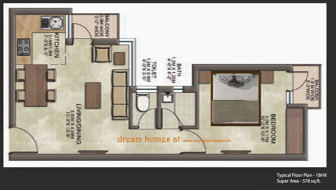 Dream Homes floor plan 1bhk super area 578 sqft