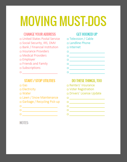 moving packing list simply radiant organizing