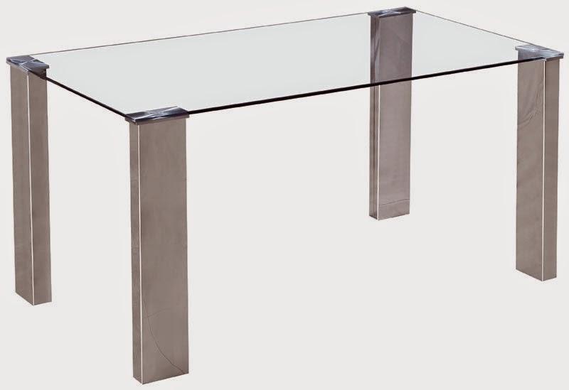 Mesa salon aluminio y cristal templado