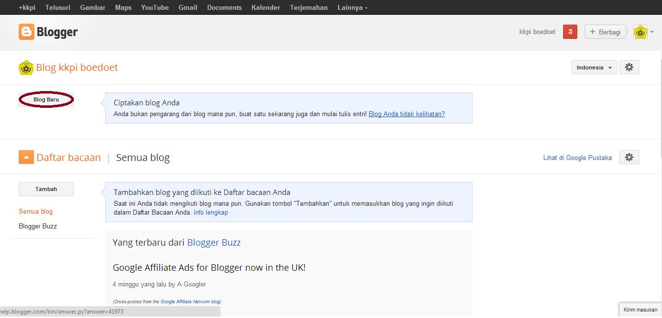 langkah langkah membuat blog dengan blogger kkpi boedoet