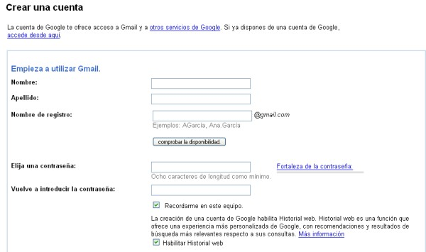 Crear correo gmail