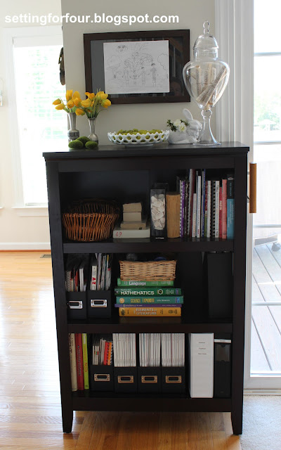 See how I organized my family and simplified our lives with the Bookcase Family Organizer! See how I organized my cookbooks and the kid's study and homework supplies all in one place with easy storage ideas!