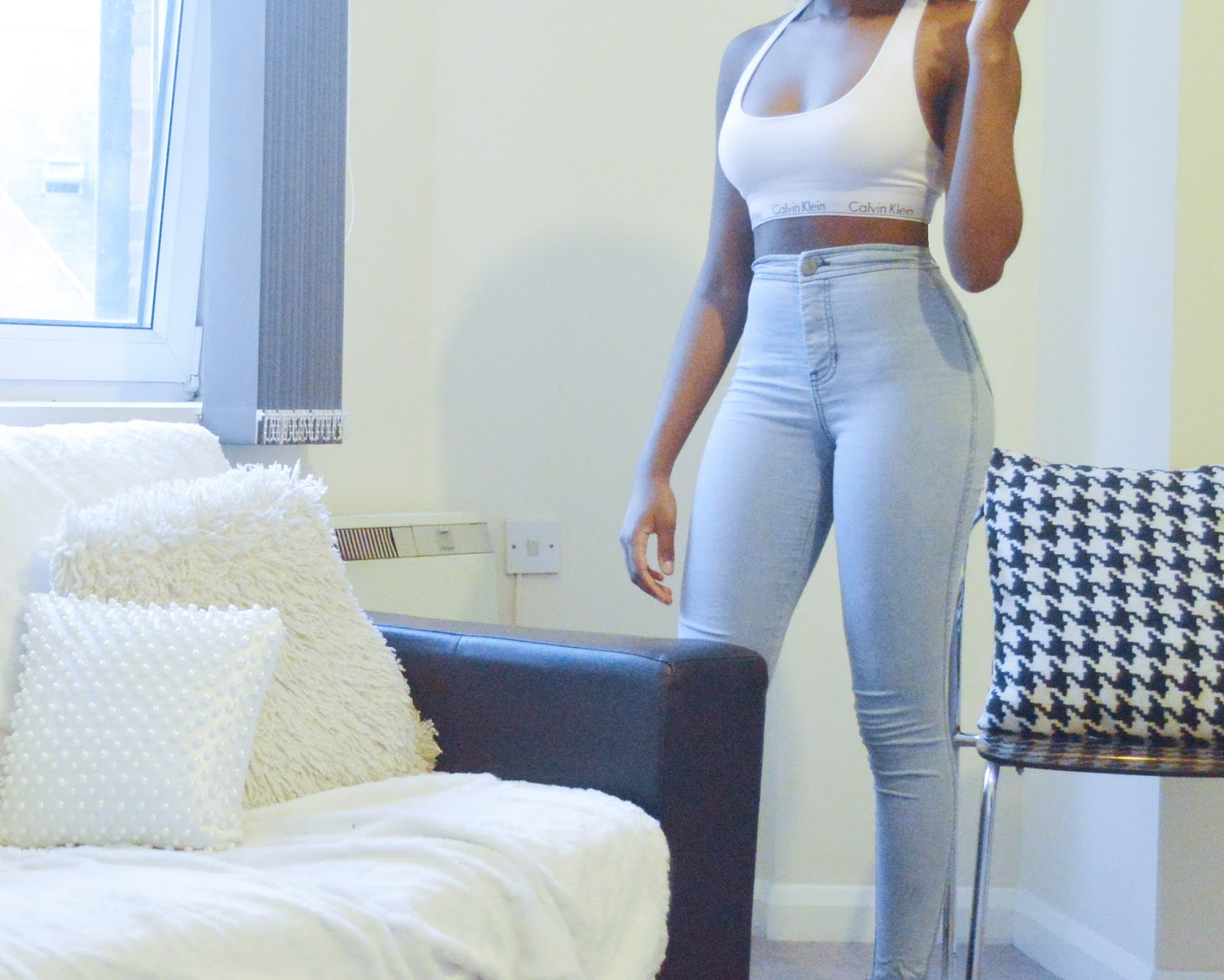 calvin klein,high waist,light blue jeans, calvin klein bra,athleisure,slimthick,african american,black girl,black girls,bob hair,weave,hourglass,small waist,body,athletic,fitspo,how to,how to wear,booty,round butt,tumblr,pinterest,wheretogetit