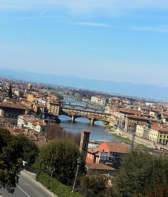 a closeup of the river Arno and the city Florence on its banks