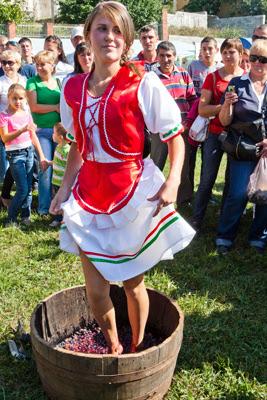 Фото Укринформ: девушка ногами давит виноград