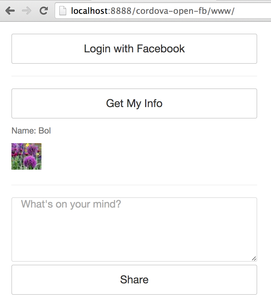 facebook login cordova