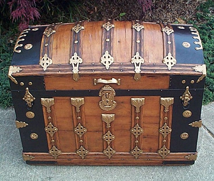 Antique furniture parts trunk