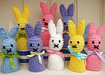 knitted bunny egg cosies