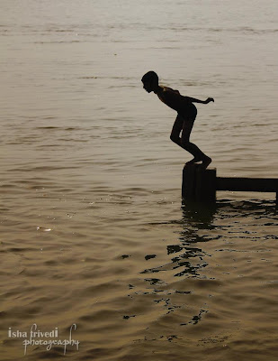 "Ganga Snaan clicked by Isha Trivedi in Varanasi morning Jumping ""Isha Trivedi"" ""Varanasi"""