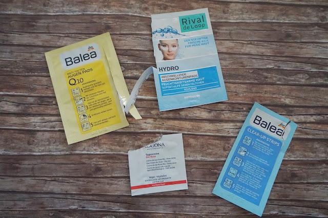 Balea - Anti Falten Augenpads Q10, Rival de Loop - Hydro Abschwellende Augenkonturenpads, Balea - Clear-up Strips, Logona - Tagescreme Rose