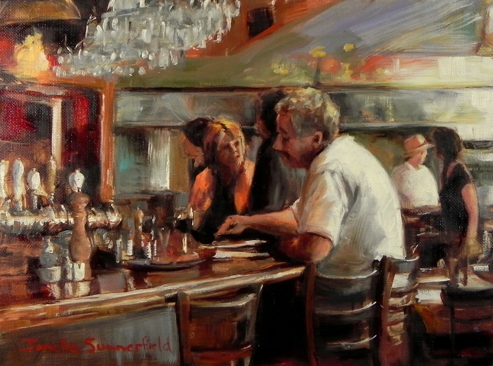 Jonelle summerfield oil paintings the diner for Diner painting