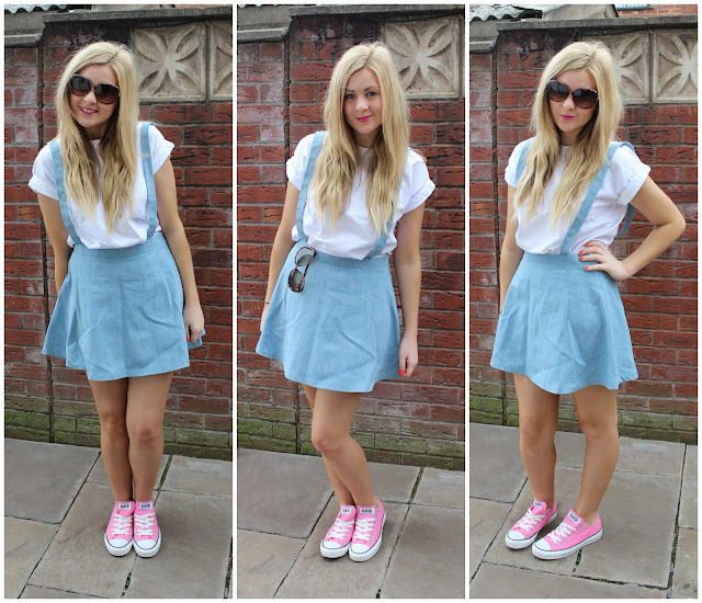 858574d7464 Converse with skirts (in this case a dungaree). Both low cuts and high cuts  will look real good with a dress or skirt. this ootd is yet another simple  one