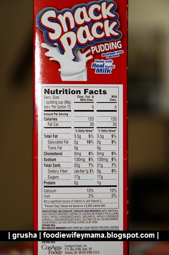 Chocolate Pudding Snack Pack Nutrition