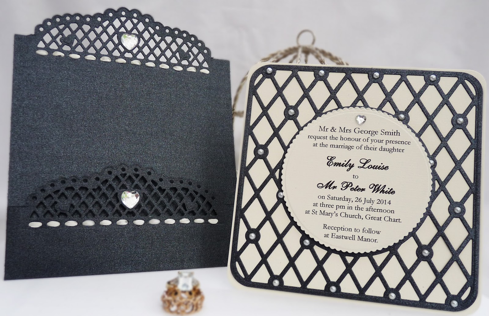 Black & Ivory Contemporary Wedding Invitation Set