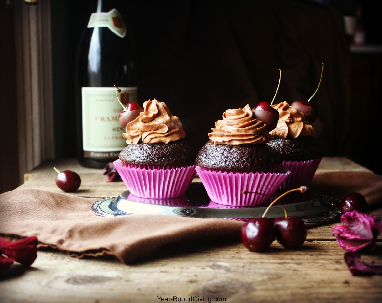 Chocolate Espresso Cupcakes with Chocolate Dipped Cherries