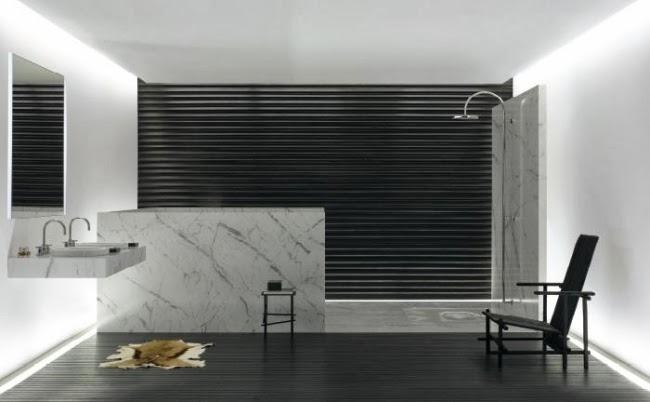 Baños Minimalistas Imagenes:En un baño estilo minimalista se puede jugar con los colores y