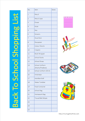 Free Printable Back To School Shopping List