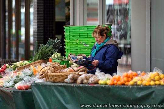 Lesley Stewart, fruit and vege seller in the Hastings Mall photograph
