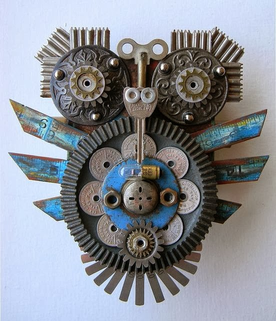 "Junk Assemblage Owl Art "" Blue And Grey"" by Jen Hardwick"