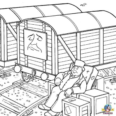 Free online printable picture railway truck Thomas the train coloring pages for kids to print out