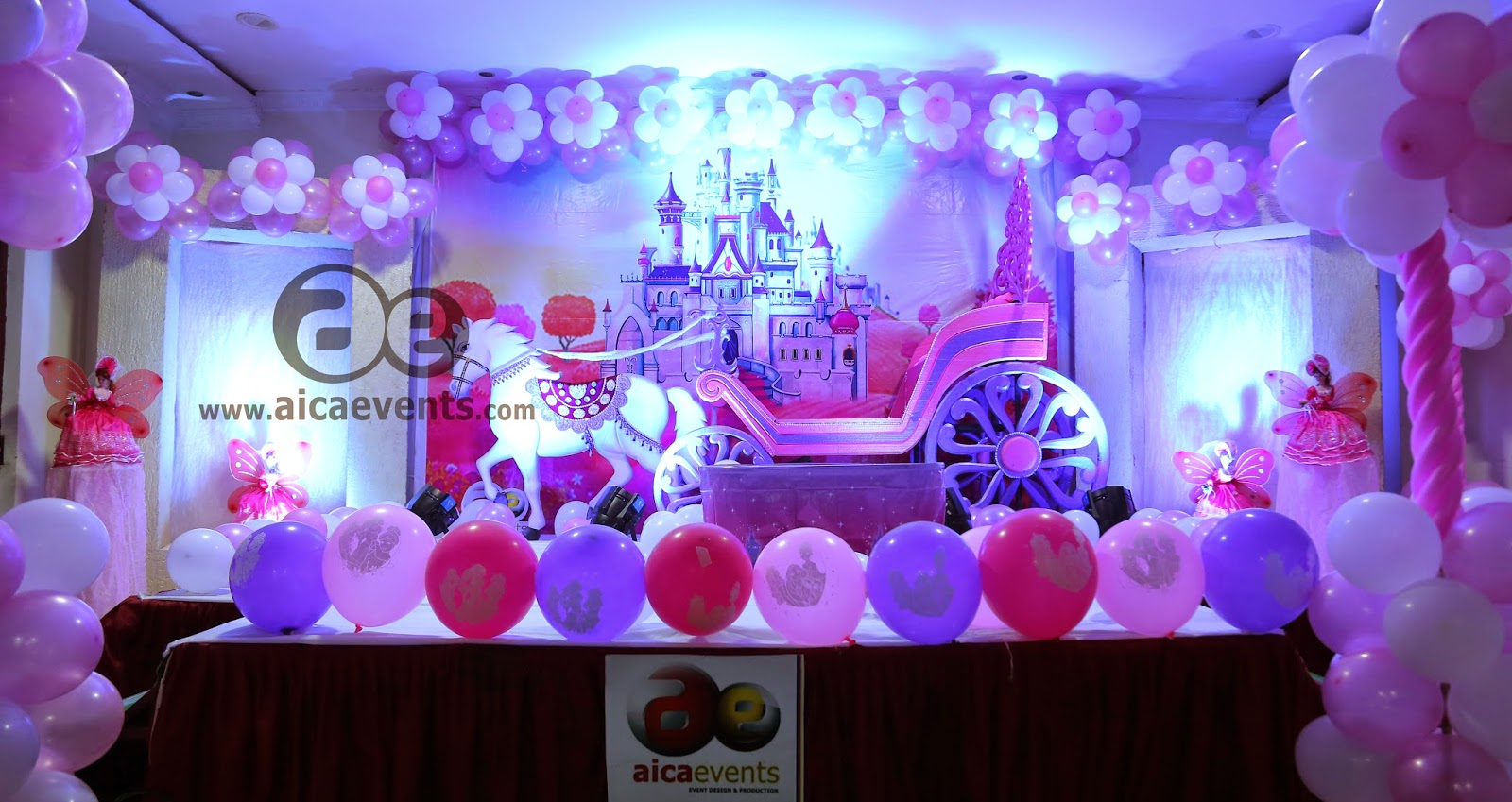 Aicaevents chariot and princess theme birthday party for 1st birthday hall decoration