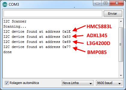 I2C Scanner - Serial Monitor