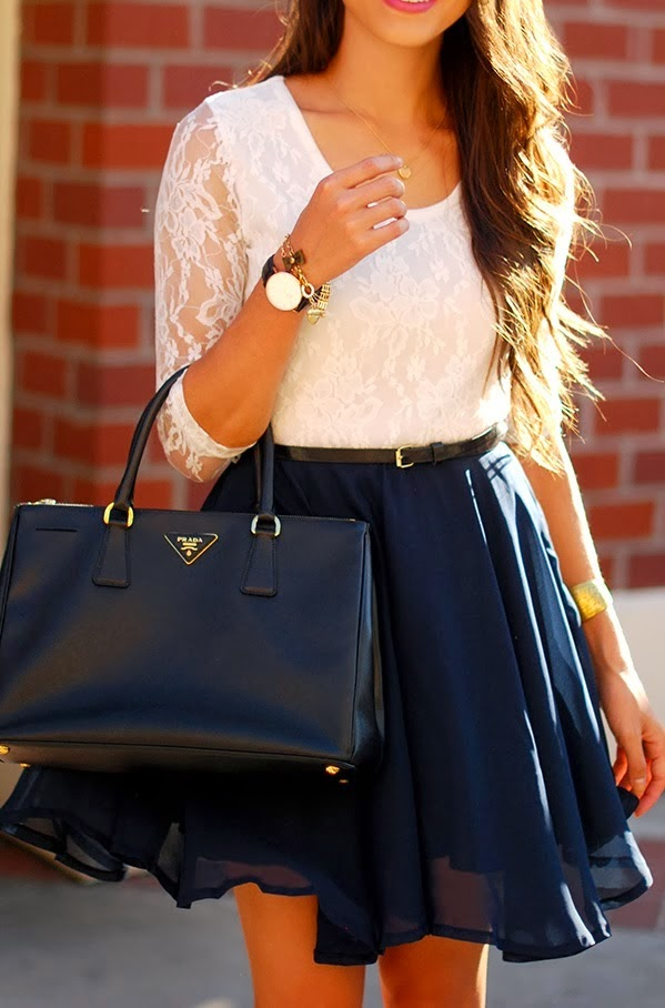 Mini flowy skirt and lace top combo