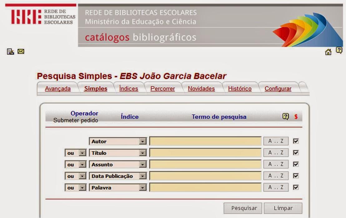 Catálogo da Biblioteca Escolar da Escola João Garcia Bacelar