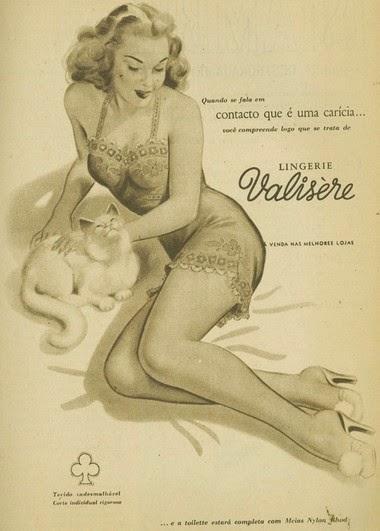 Campanha da Lingerie Valisère de 1952 em valorização da feminilidade.