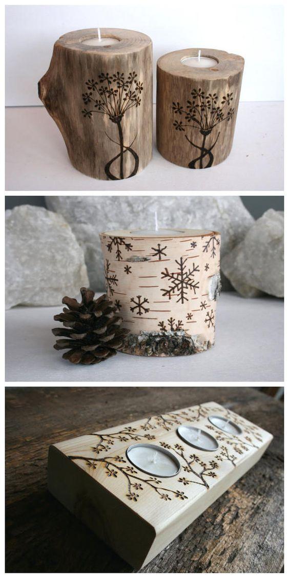 Porta velas de madeira decorado