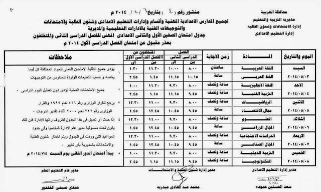 Prep Work 1 2 T2 جدول مواعيد صفوف الاعدادية الترم الثاني بالغربية 2014 و الاعدادية المهنية الصف الاول و الثاني و الثالث