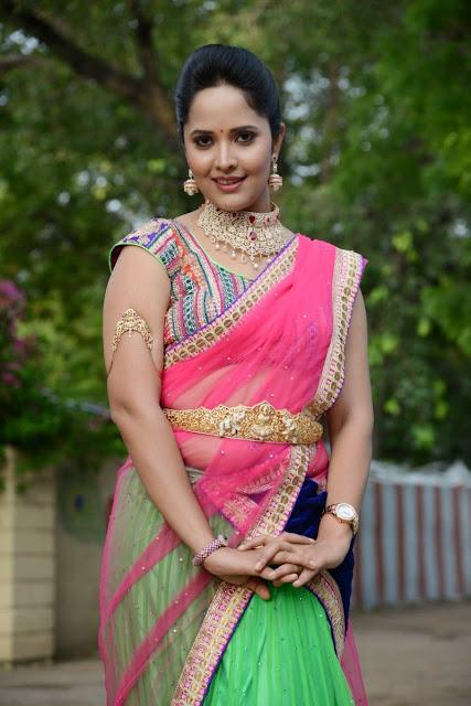 Anasuya TV Anchor in Lovely Half Saree at maa mahalakshmi game show opening event