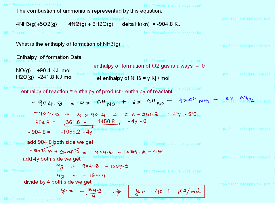 Free online help combustion of ammonia is represented by for Delta h table chemistry