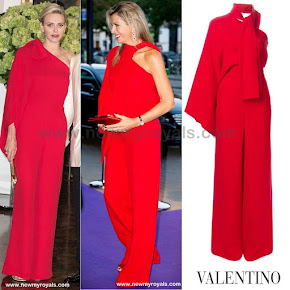 Queen Maxima and Princess Charlene in VALENTINO Shoulder Jumpsuit and JAN TAMINIAU jacket